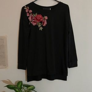 Black long sleeve shirt floral embroidery